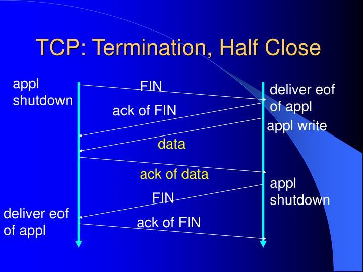 TCP: Termination, Half Close