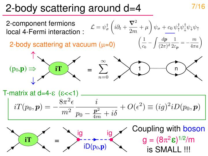 2-body scattering around d=4