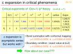 e expansion in critical phenomena