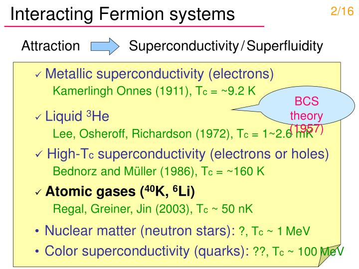 Interacting Fermion systems