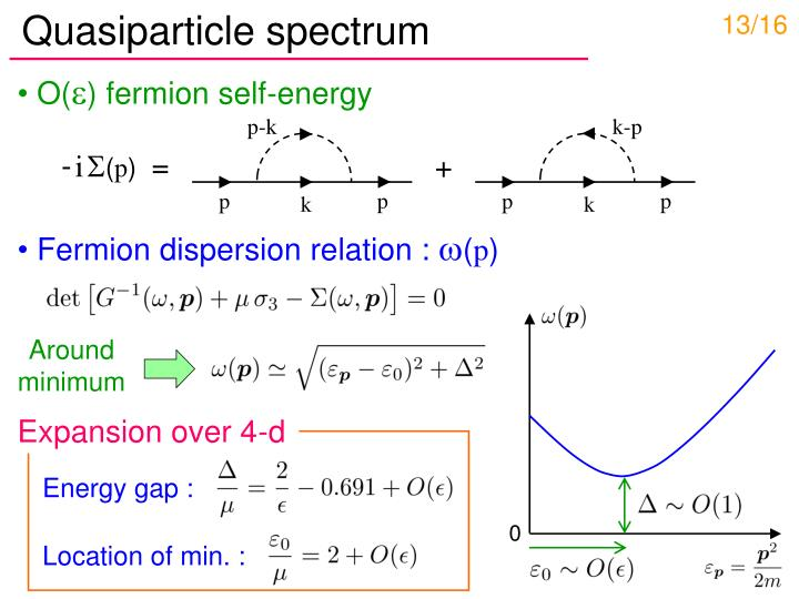 Quasiparticle spectrum