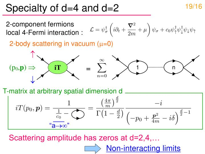 Specialty of d=4 and d=2