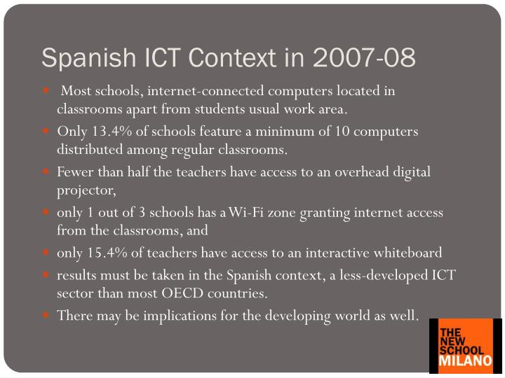 Spanish ICT Context in 2007-08