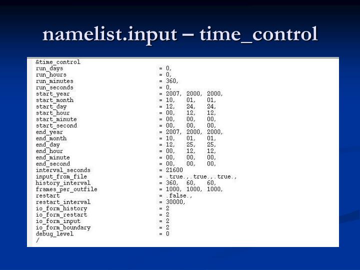 namelist.input – time_control
