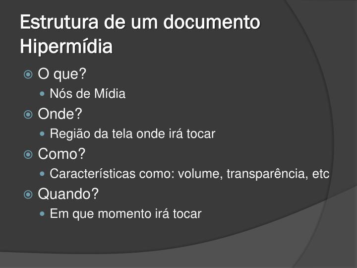 Estrutura de um documento Hipermídia