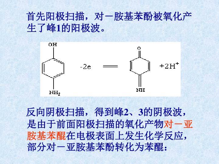 首先阳极扫描,对-胺基苯酚被氧化产生了峰