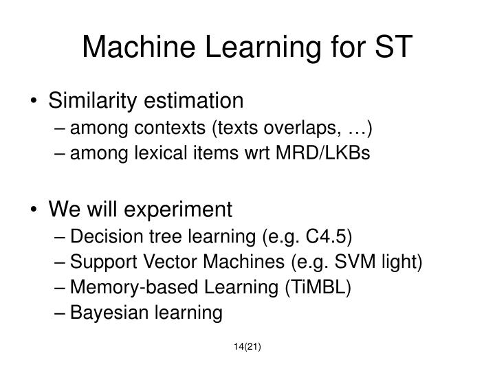 Machine Learning for ST