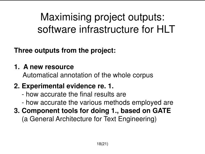 Maximising project outputs: