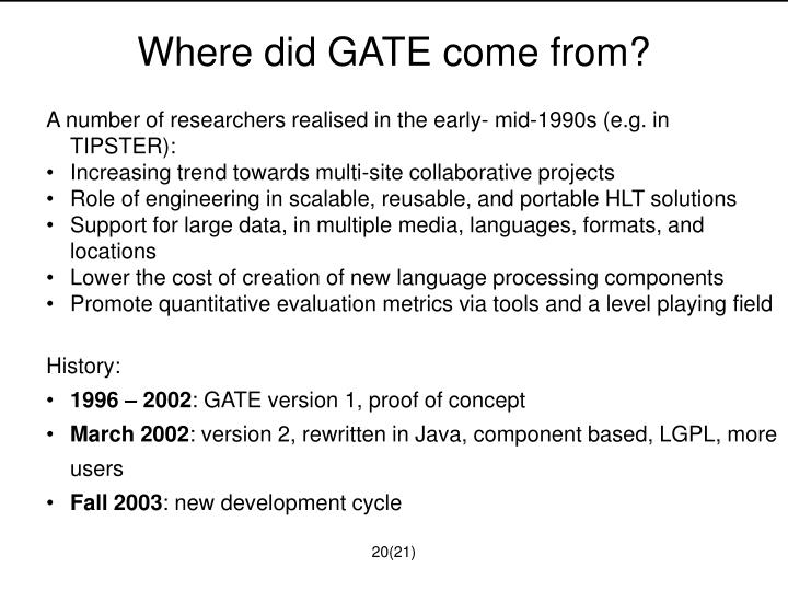 Where did GATE come from?