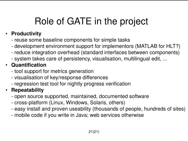 Role of GATE in the project