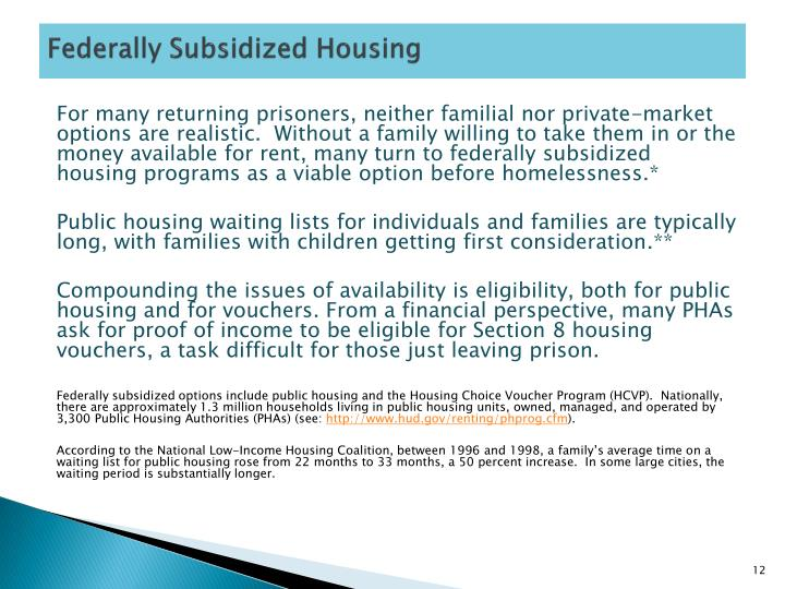 Federally Subsidized Housing