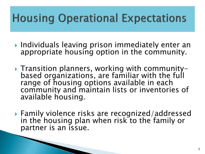 Housing Operational Expectations