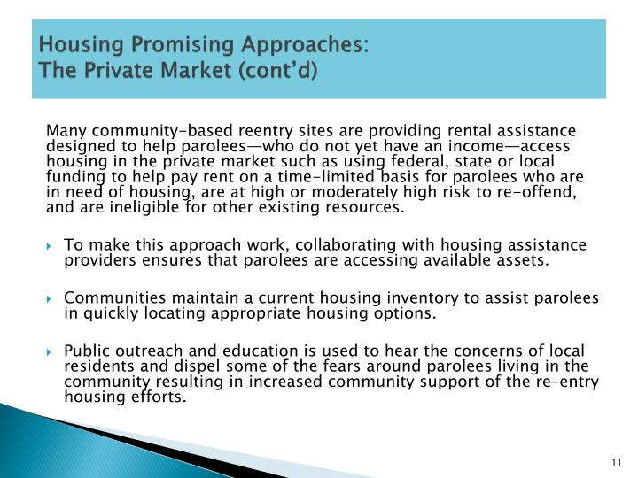 Housing Promising Approaches: