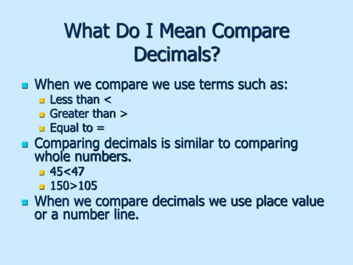 What Do I Mean Compare Decimals?