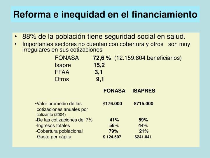 Reforma e inequidad en el financiamiento