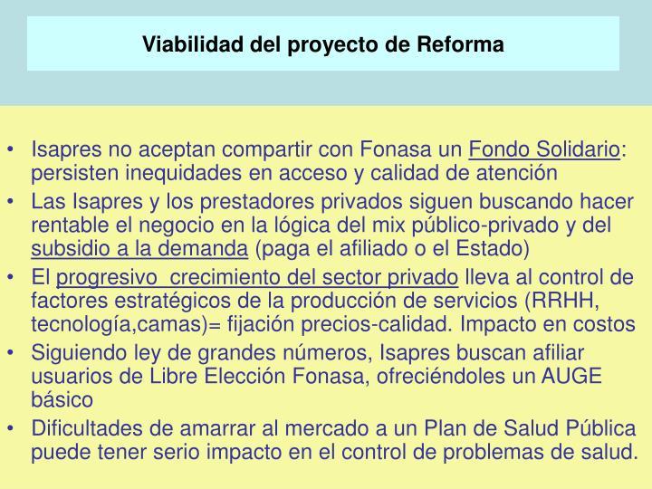 Viabilidad del proyecto de Reforma
