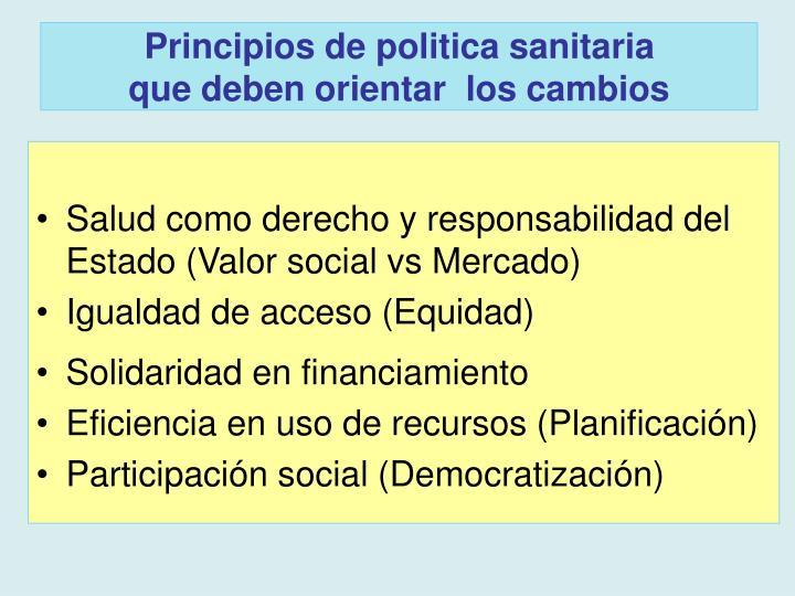 Principios de politica sanitaria