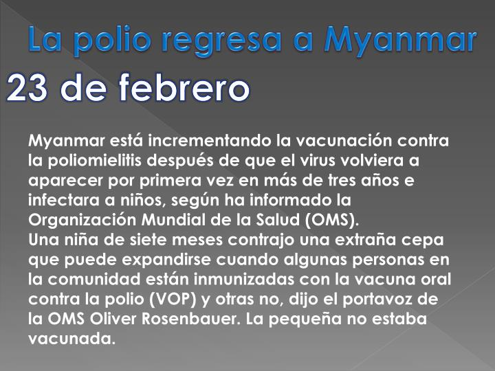 La polio regresa a Myanmar