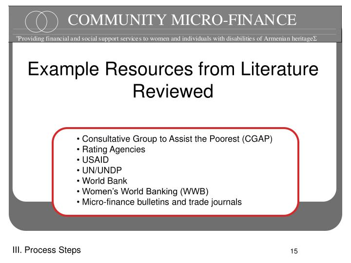 Example Resources from Literature Reviewed