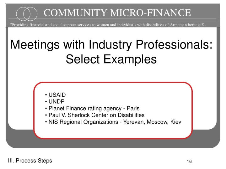 Meetings with Industry Professionals: Select Examples