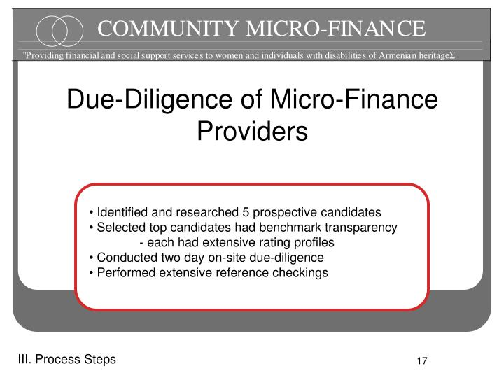 Due-Diligence of Micro-Finance Providers