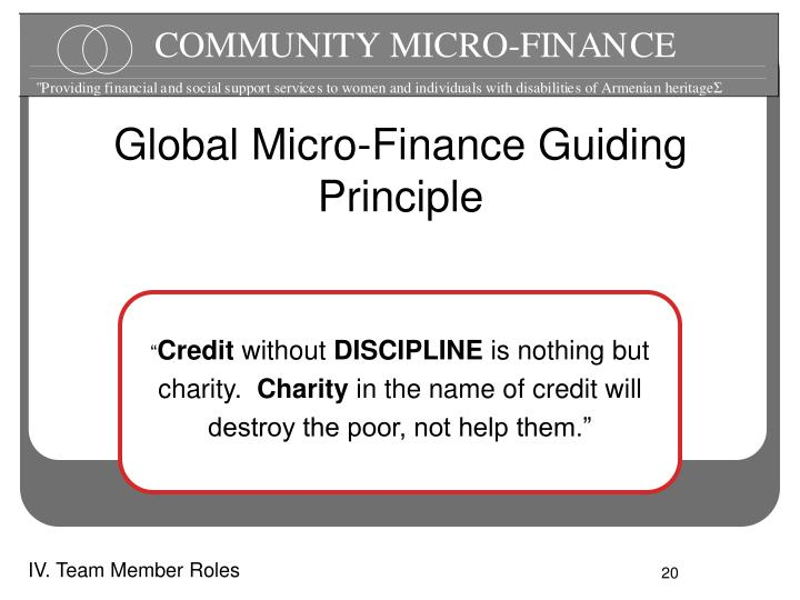 Global Micro-Finance Guiding Principle