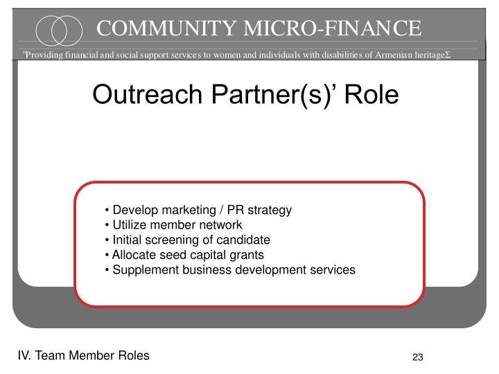 Outreach Partner(s)' Role
