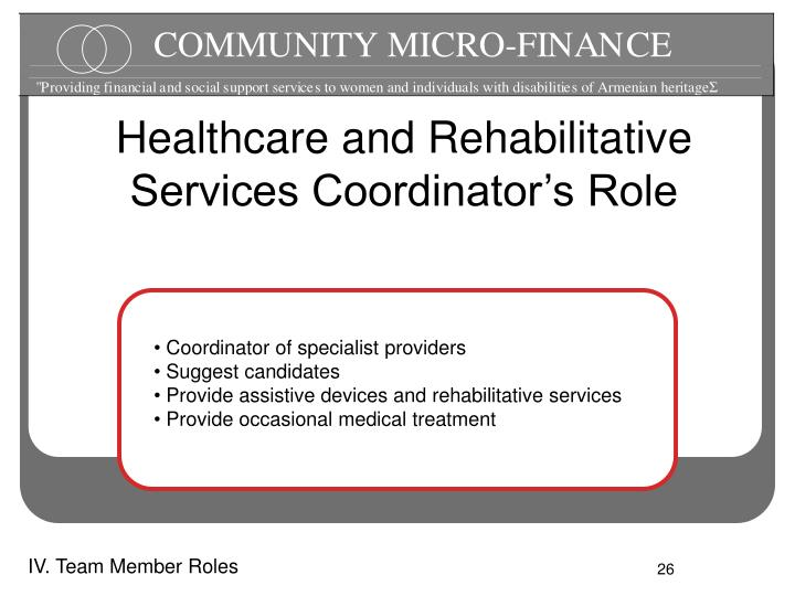 Healthcare and Rehabilitative Services Coordinator's Role
