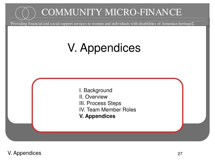 V. Appendices