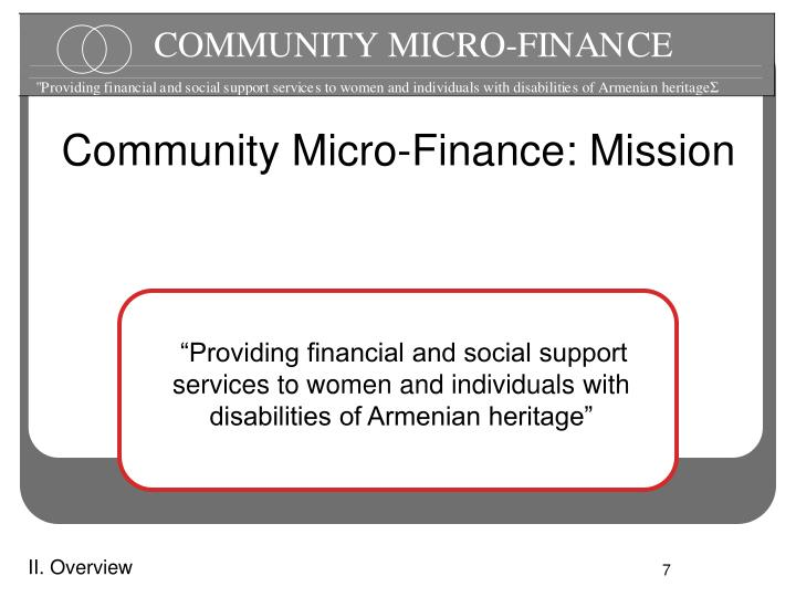 Community Micro-Finance: Mission