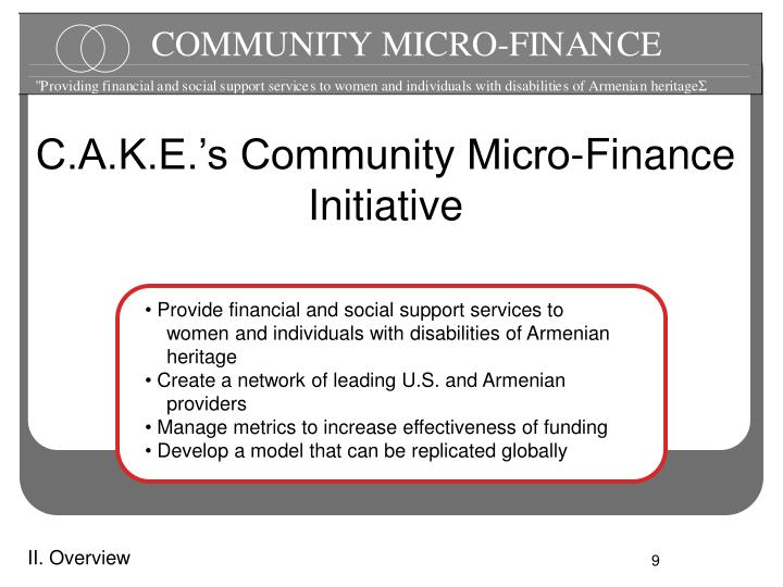 C.A.K.E.'s Community Micro-Finance Initiative