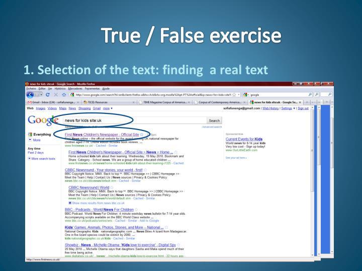 True / False exercise