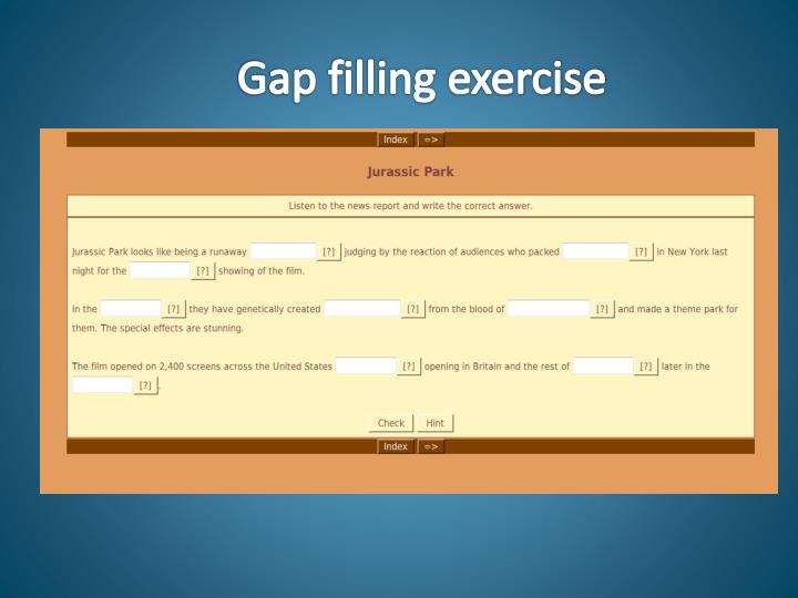 Gap filling exercise