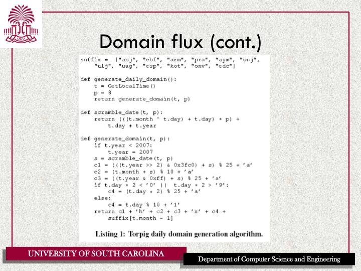 Domain flux (cont.)