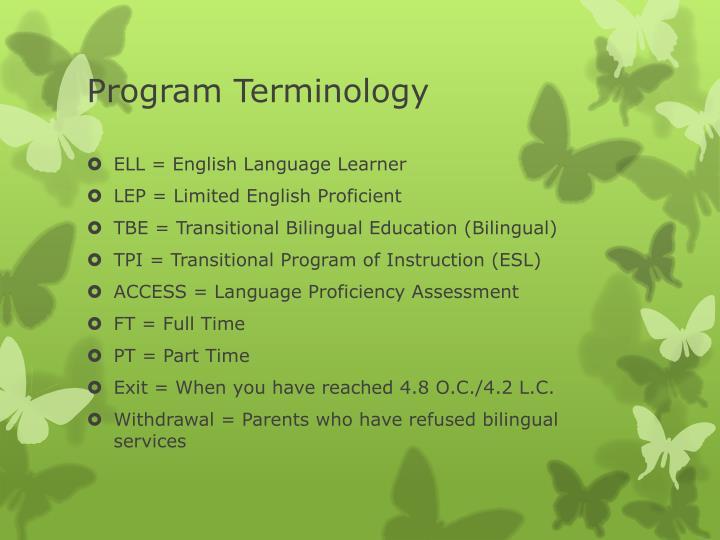 Program Terminology
