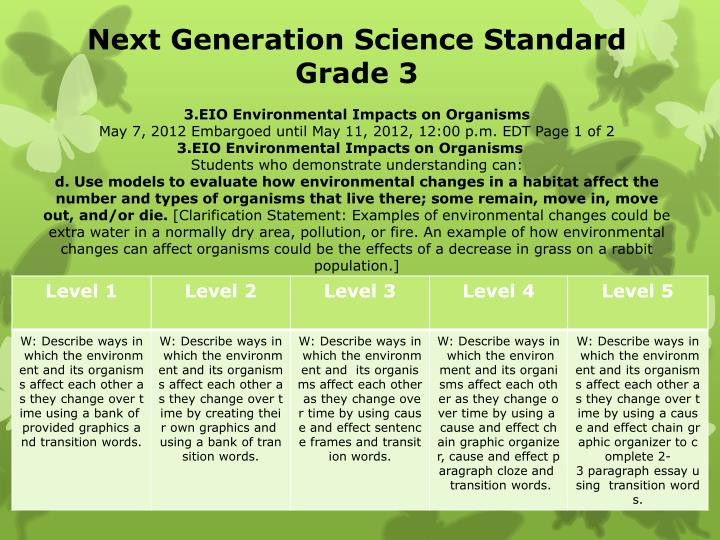Next Generation Science Standard Grade 3