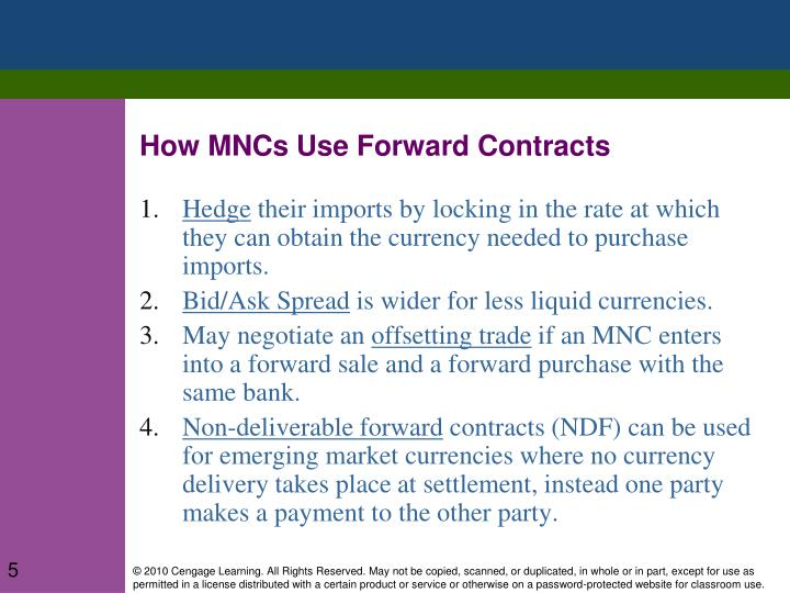 How MNCs Use Forward Contracts
