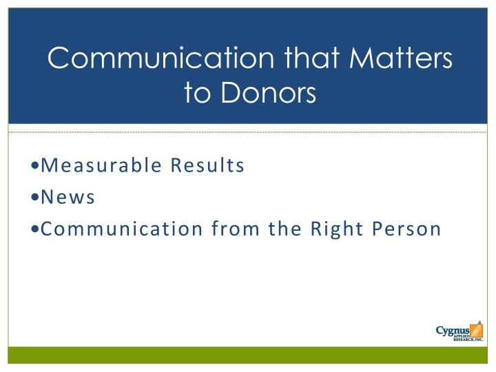 Communication that Matters to Donors
