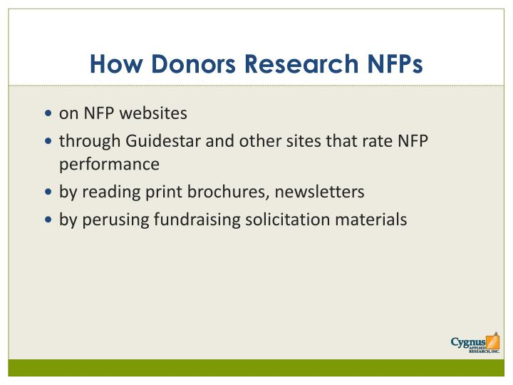 How Donors Research NFPs