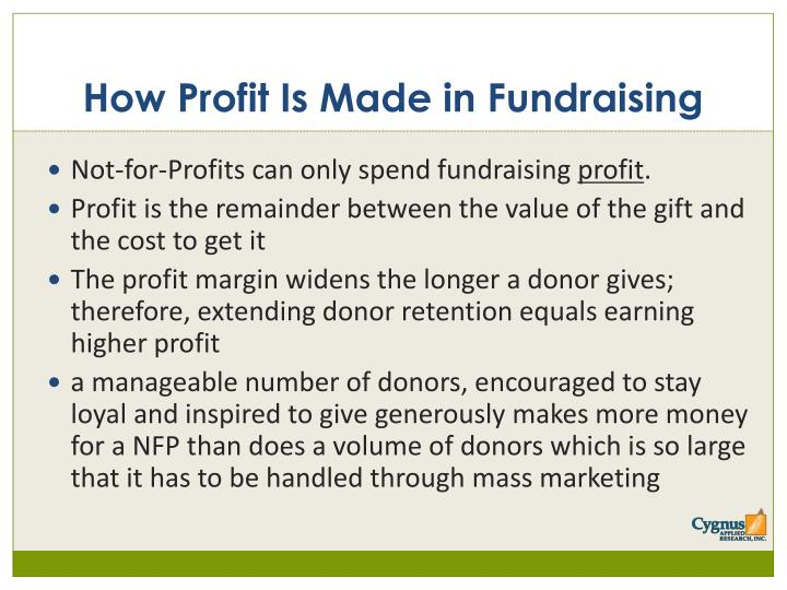 How profit is made in fundraising