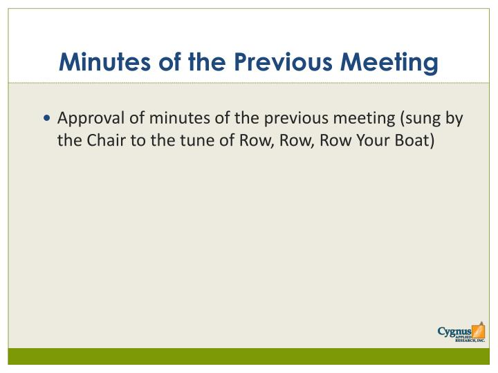 Minutes of the Previous Meeting