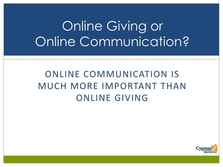 Online Giving or