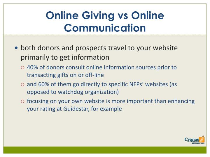 Online Giving vs Online Communication