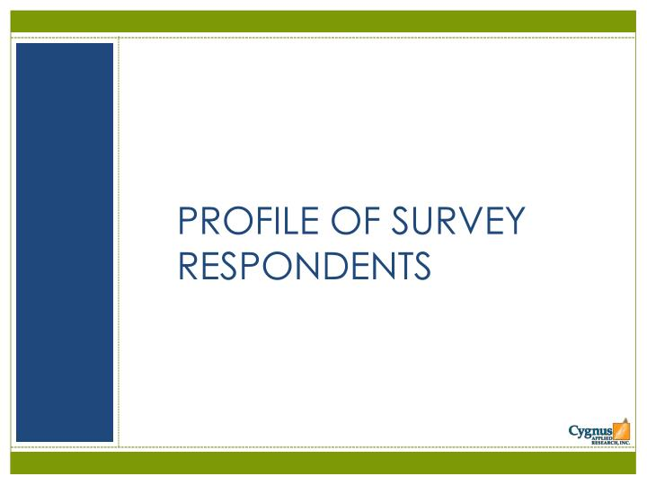 PROFILE OF SURVEY RESPONDENTS
