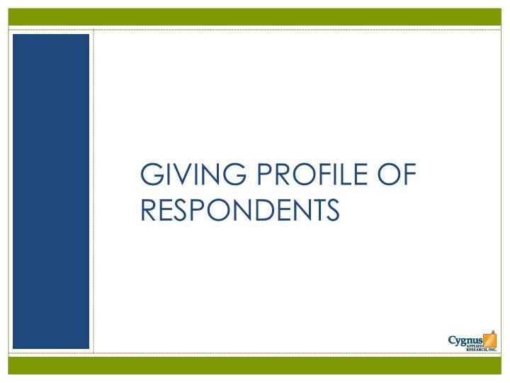 GIVING PROFILE OF RESPONDENTS