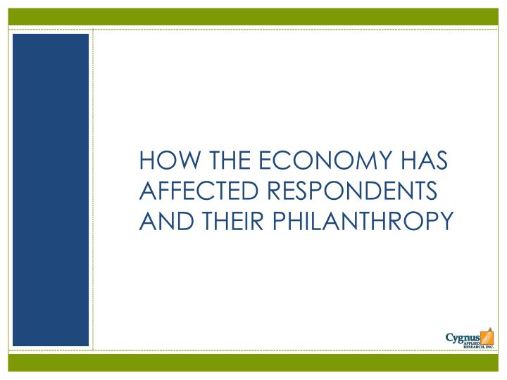 HOW THE ECONOMY HAS AFFECTED RESPONDENTS AND THEIR PHILANTHROPY