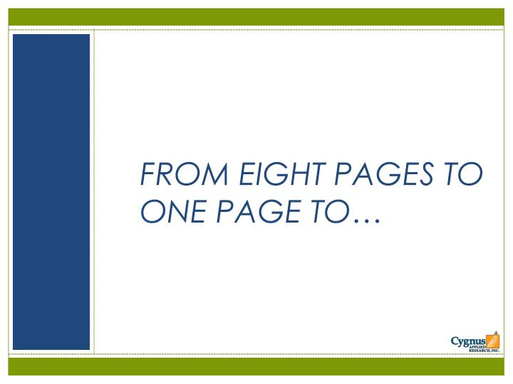 FROM EIGHT PAGES TO ONE PAGE TO…