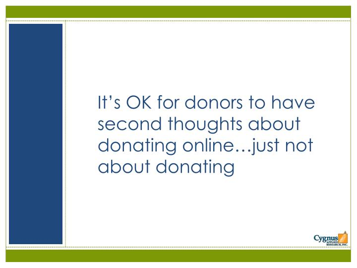 It's OK for donors to have second thoughts about donating online…just not about donating