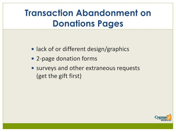 Transaction Abandonment on Donations Pages