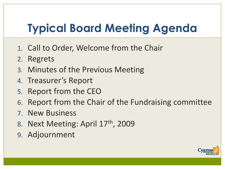 Typical Board Meeting Agenda